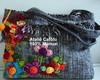 Bolsa preta,m�dia com flores de crochet