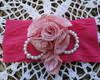 Faixa 56 Rosa de renda e feltro pink