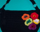 BOLSA PRETA PEQUENA COM FLORES
