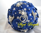Buquê De Noiva Azul Royal C/ 5 Broches