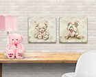 duo quadros teddy floral - TELA PRONTA