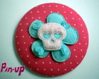 BOTTON TECIDO SKULL FLOWER - 5,5CM