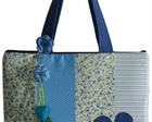 Bolsa para notebook em patchwork azul