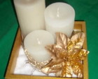 Trio de Velas Brancas c/ Dourado
