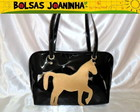 CAVALO DOURADO BOLSA OMBRO PRETA