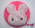 BUTTON PINK RABBIT