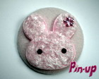 BUTTON ROSE RABBIT