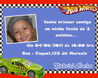 Convite tema hot wheels