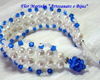 PULSEIRA CRISTAIS E PROLAS *AZUL ROYAL*