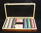 Kit Poker 300 fichas em marchetaria
