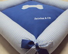 Cama Pet Osso - Azul xadrez