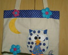 Bolsa em lona - Corujinha azul
