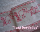 Jogo de Toalhas Barbie - Branco/Rosa