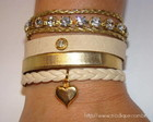 Bracelete top couro e strass
