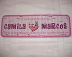 Placa Camila e Marcos