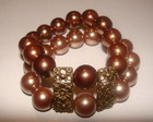 Pulseira dupla de prolas marron
