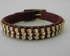 BRACELETE EM COURO E STRASS**ESGOTADO**