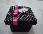 Caixinha MDF Po Preto e Pink 6x6x6cm