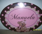 Placa pvc ursa marrom e rosa
