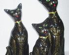 Trio de Gatos - Golden Black Cats