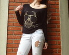 Blusa caveira Rayban Adriana Dourado