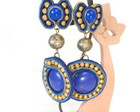 Brincos Soutache Azul e Dourado 4081