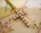 Colar Cruz de Strass - Frete grtis