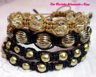 KIT PULSEIRAS SHAMBALA **PRETO E DOURADO