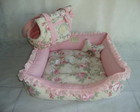 Cama Babado Designer - Floral Rosa