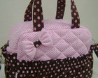 BOLSA M MARROM E ROSA LAO