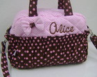 BOLSA M MARROM E ROSA PERSONALIZADA