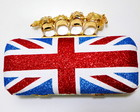 Skull  London flag clutch
