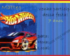Convite Hot Wheels 1
