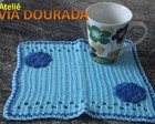 Mug Rug Azul Claro com Flores