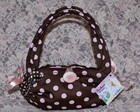 Mini Bolsa Toalha Marrom de Bolinha Rosa