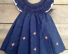 Vestido Ponto Smock 12-18 meses Azu Pos