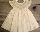 Vestido Ponto Smock 12-18 Meses Bege Po