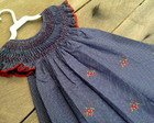 Vestido Ponto Smock Azul Pos - 2 anos