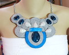 MAXI COLAR SOUTACHE *PRATA E AZUL ROYAL*