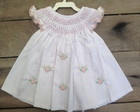 Vestido Casinha De Abelha Branco/Rosa