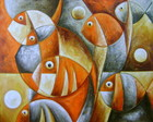 PAINEL PINTURA PEIXES 80X100 COD 569