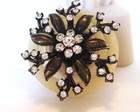 Broche Ouro Velho Flor Strass