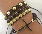Kit pulseiras crucifixo e spike