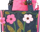 Bolsa Jeans Quiltada  (2 flores Rosa)