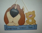 Placa Decorativa C�o e Gato
