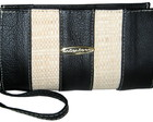 Clutch em Couro Legtimo Preto e Palh