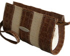 Clutch Em Couro Legtimo Caramelo E Palh