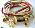 Pulseiras conjunto de couro joaninha...