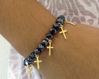 Pulseira cristais e crucifixo