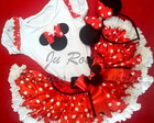 Conjunto Minnie Vermelho Frufru branco